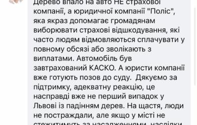 У Львові юридична компанія «Поліс», на службовий автомобіль якої впало дерево, готує позов до суду -